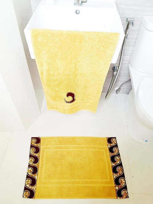 Bath mat and Hand Towel set (Mustard)