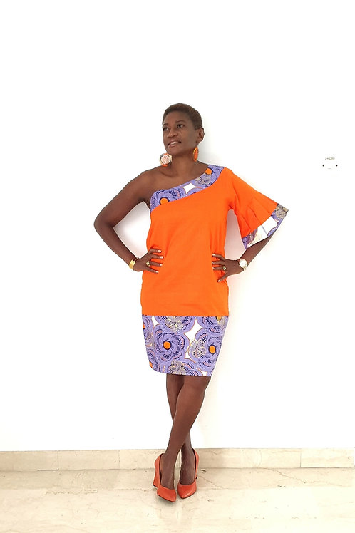 Tangerine One Shoulder Dress