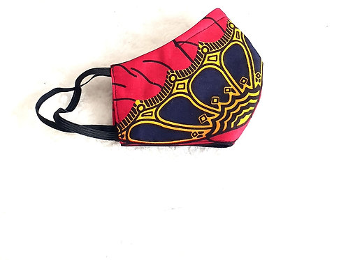 African print mask  (Red)