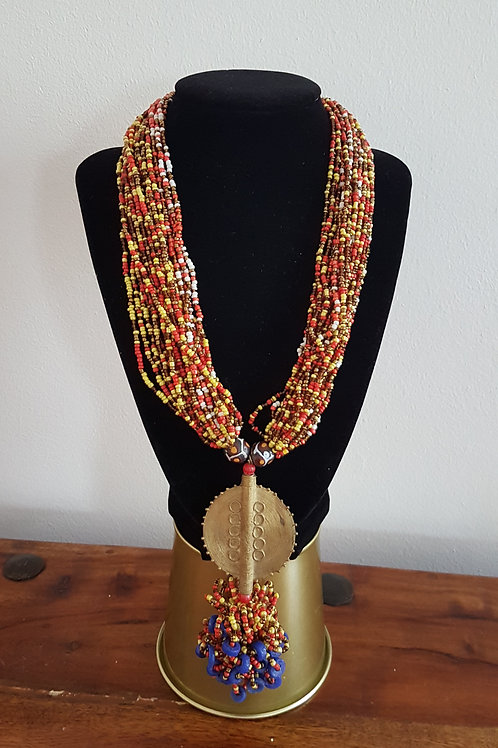 Multi coloured Beaded Brass Necklace