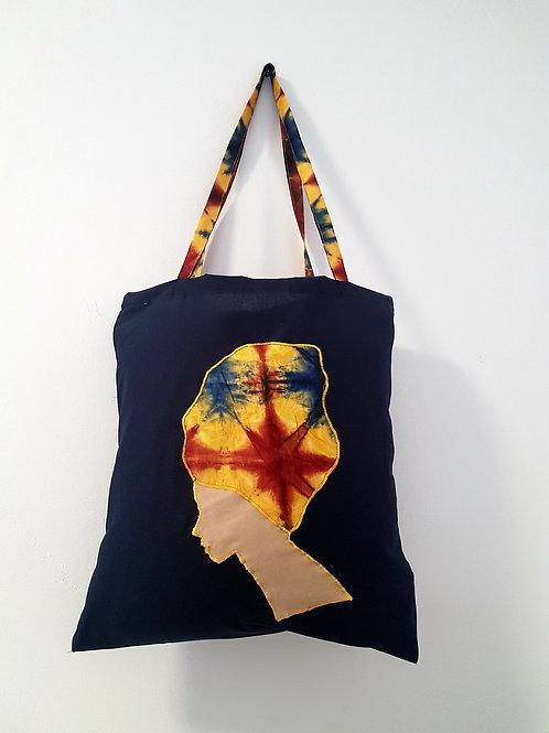 Head wrap Tote bag - Blue Star Batik