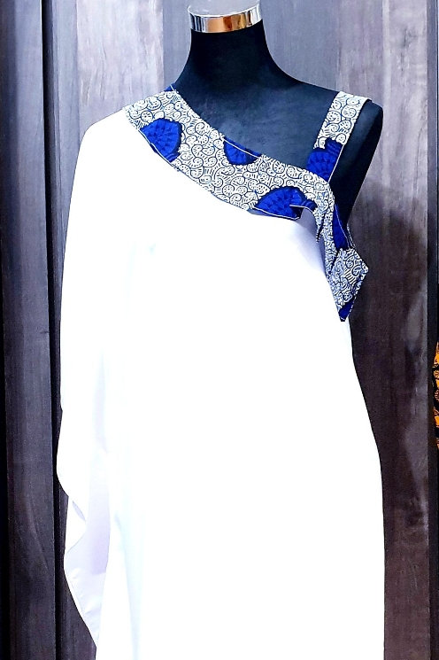 Ankara Slanting Neckline Dress