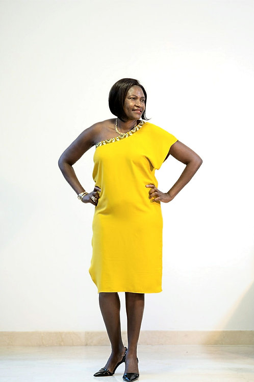 Mustard Ankara Trim Dress