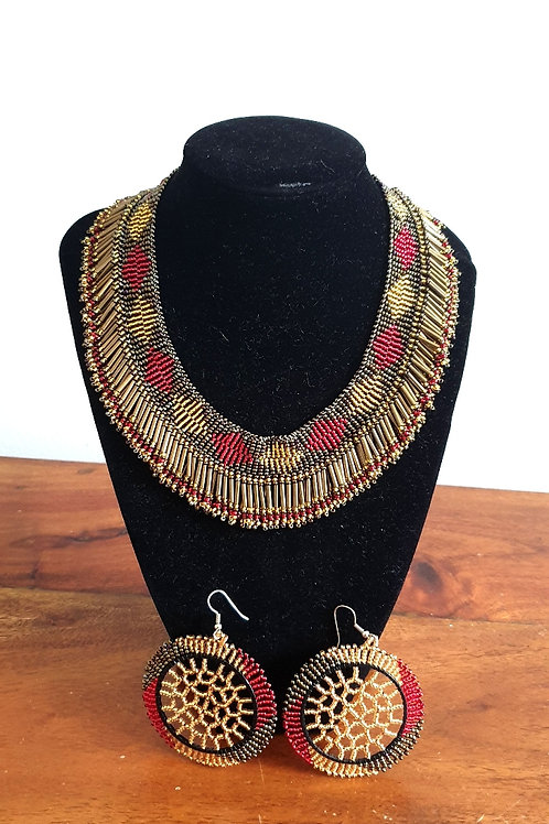 Princess Beaded Necklace (Red/Bronze)