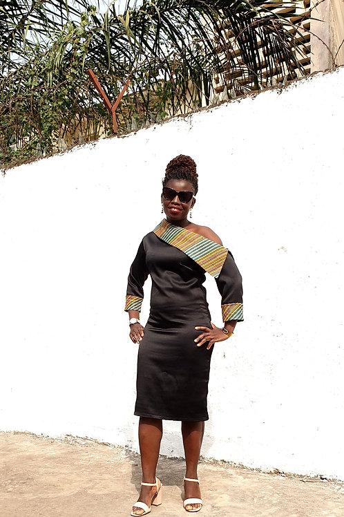 Oblique Shoulder Dress (Green)