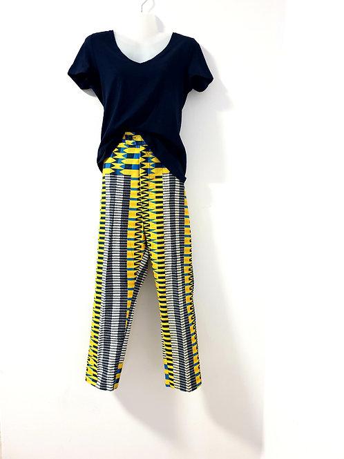 Yellow Kente Print Trousers