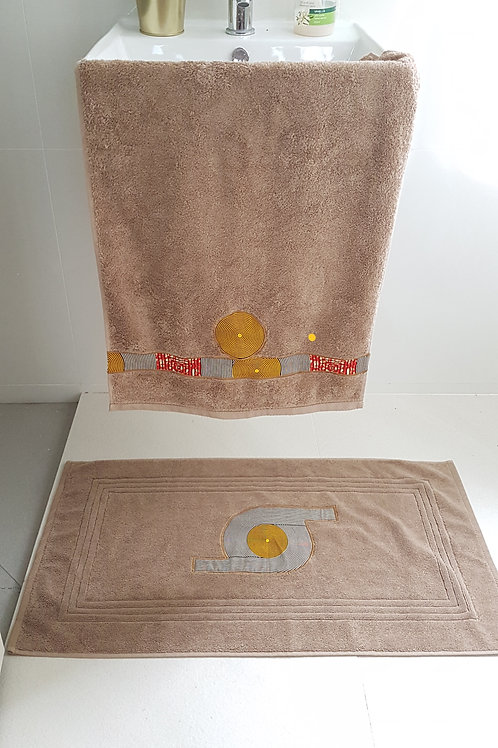 Yellow Circle bath mat set