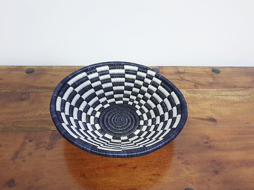 Rwandan Sisal Checkered Basket (Black & White)