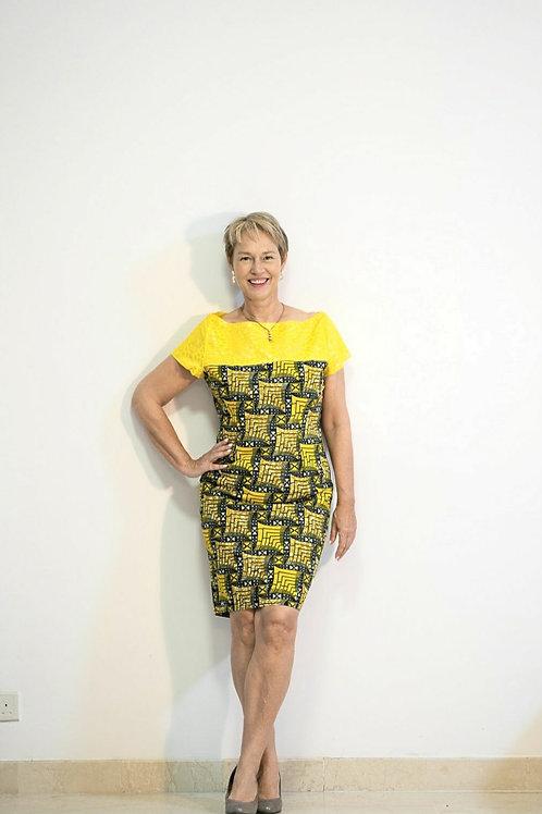 Yellow Ankara Lace Dress