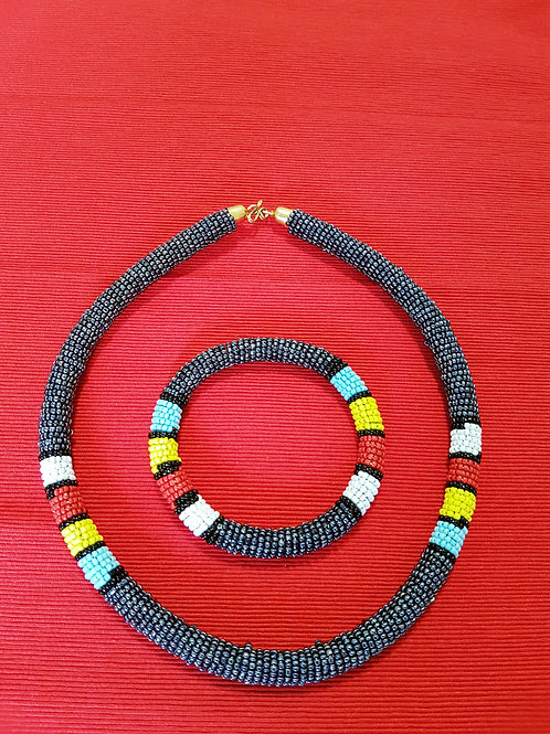 Zulu Necklace set - Metallic Grey