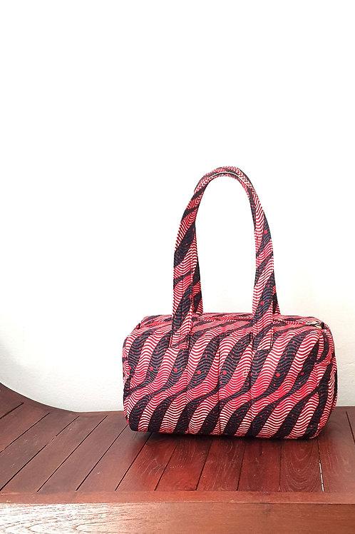 Black Stripes Barrel Bag