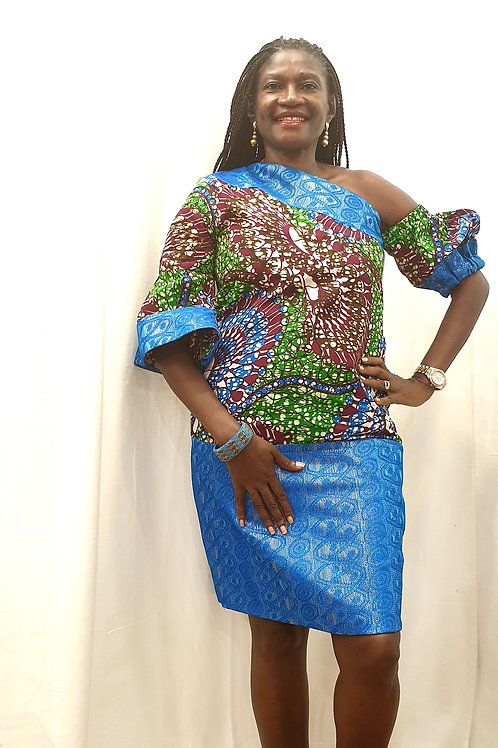 Blue Lace Ankara Dress (Detachable Sleeve)