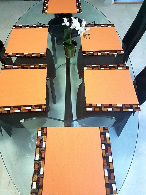 Orange Ankara Block Placemats (6)