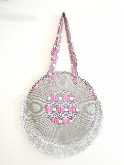 Silver/Pink Fringed Tote