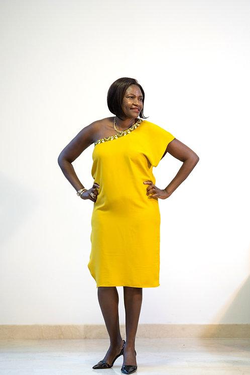 Mustard Ankara Trim Dress