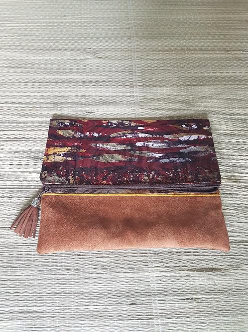 Brown Suede Tie Dye Clutch