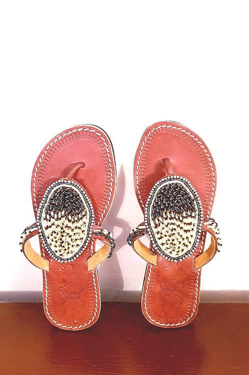 Black & Cream Beaded Slippers