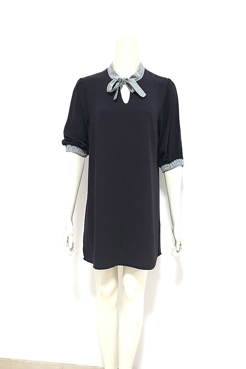 Charcoal Grey Puff Sleeve Dress