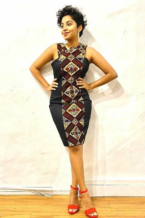 Black Ankara Box Dress (Available in Cream)