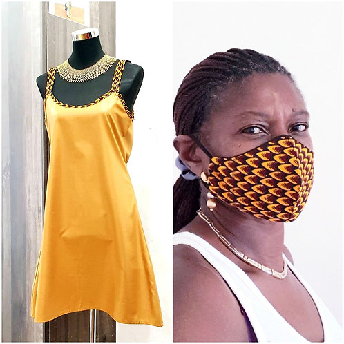 Mustardy Gold Shell Dress & Mask