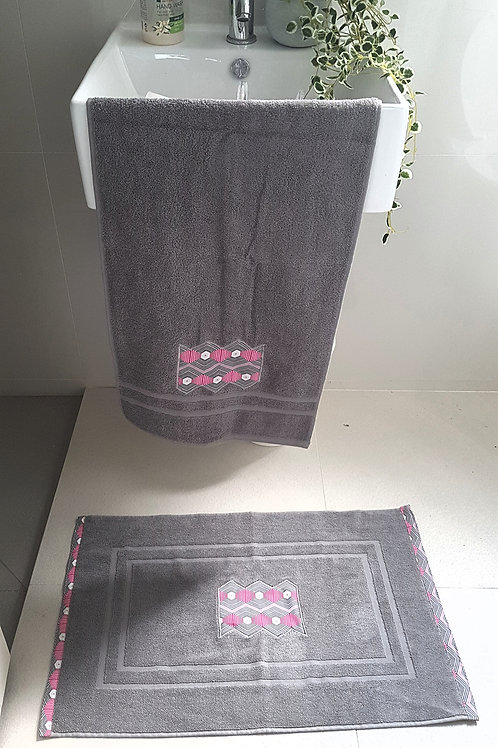 Grey Bath Mat set