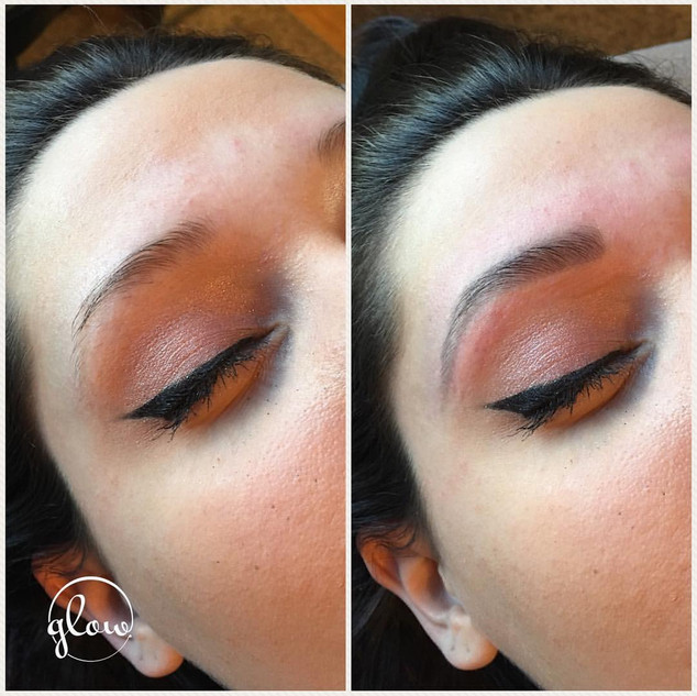Before (left) and after (right) brow shape and tint. Includes wax, trim, tweeze and tint.