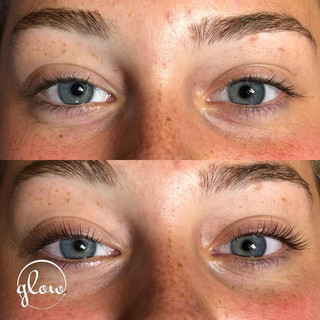 Before (top) and after (bottom) a lash lift.