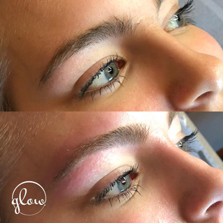 Before (top) and after (bottom) brow shaping. Includes wax, trim and tweeze.