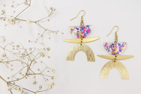 Boucles d'oreilles dorées - confettis