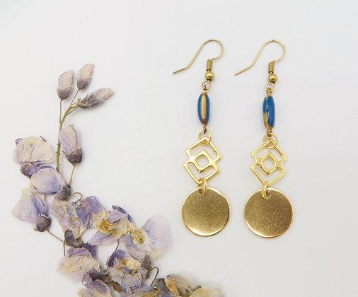 Boucles d'oreilles dorées - émail bleu