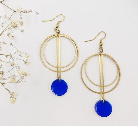 Boucles d'oreilles dorées - bleu vif