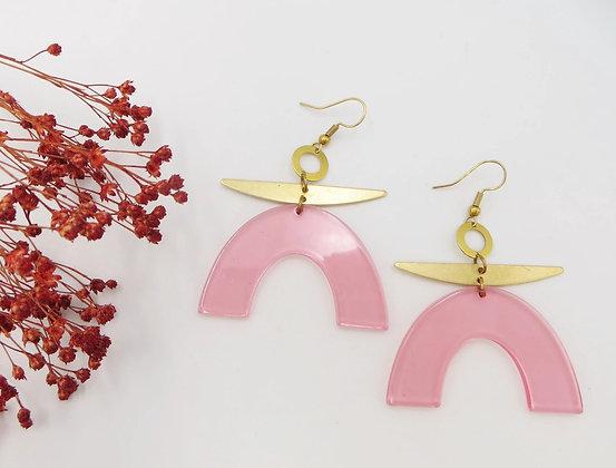 Boucles d'oreilles dorées - rose pale