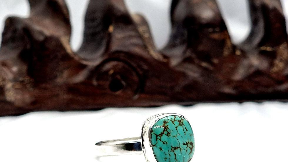 Extra large turquoise matrix healing  ring