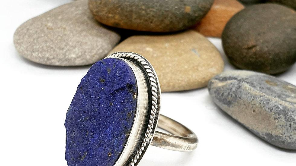Lapis wrap ring (soft finish) larger sizing