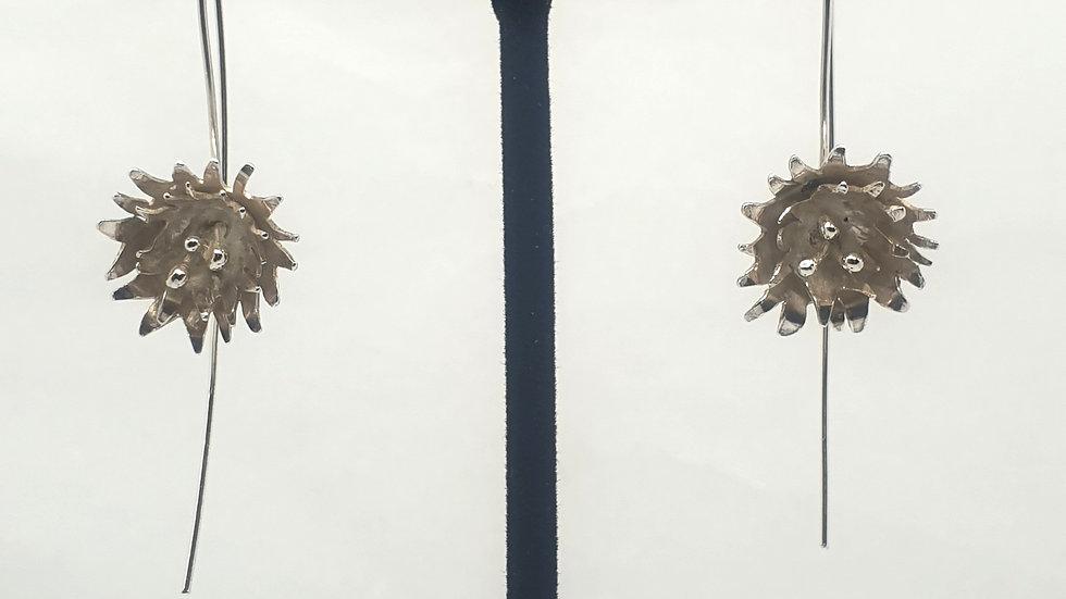 Mini Dahlia flower threader earrings