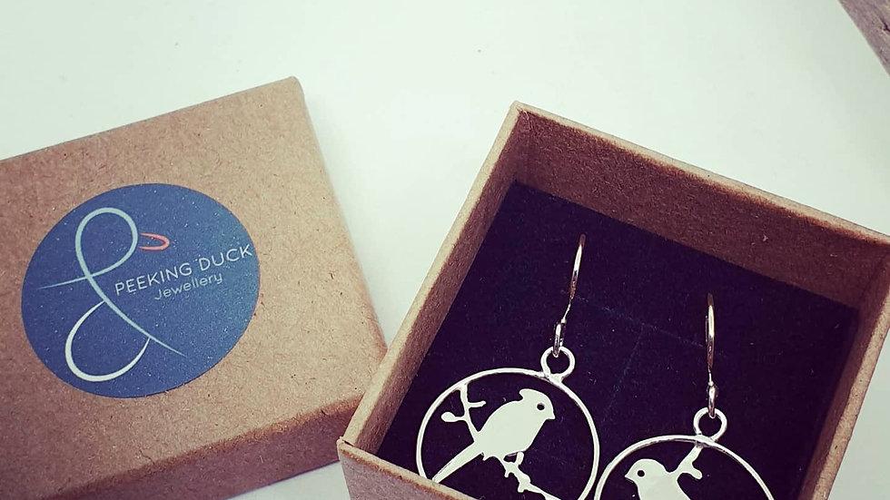 Song bird silhouette earrings