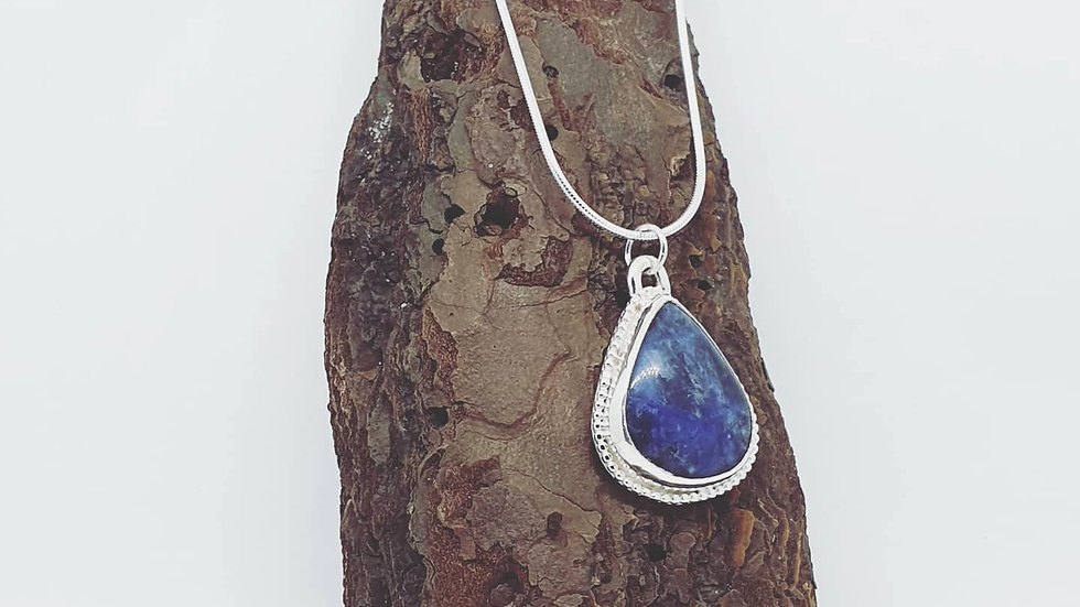 Blue pear agate pendant and chain