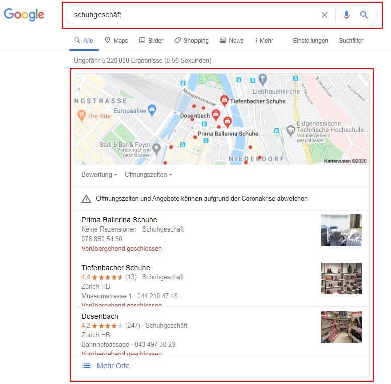 Google My Business Eintrag - Beispiel Schuhgeschäft