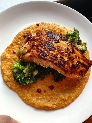 seared salmon over broccoli and puree'd carrots