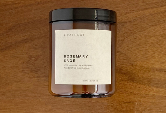 Rosemary Sage Soy Wax Candle in Amber Glass Jar