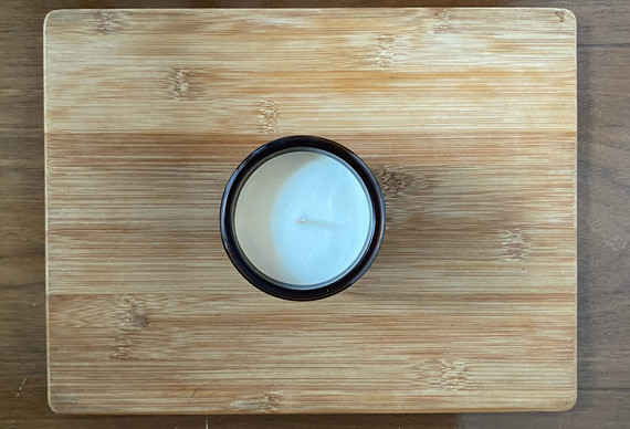 top view of Cypress and Bayberry soy wax candle