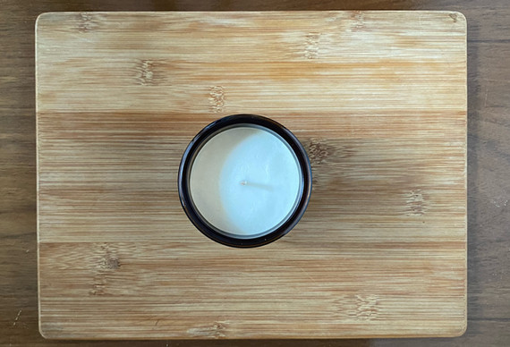 top view of rosemary sage soy wax candle