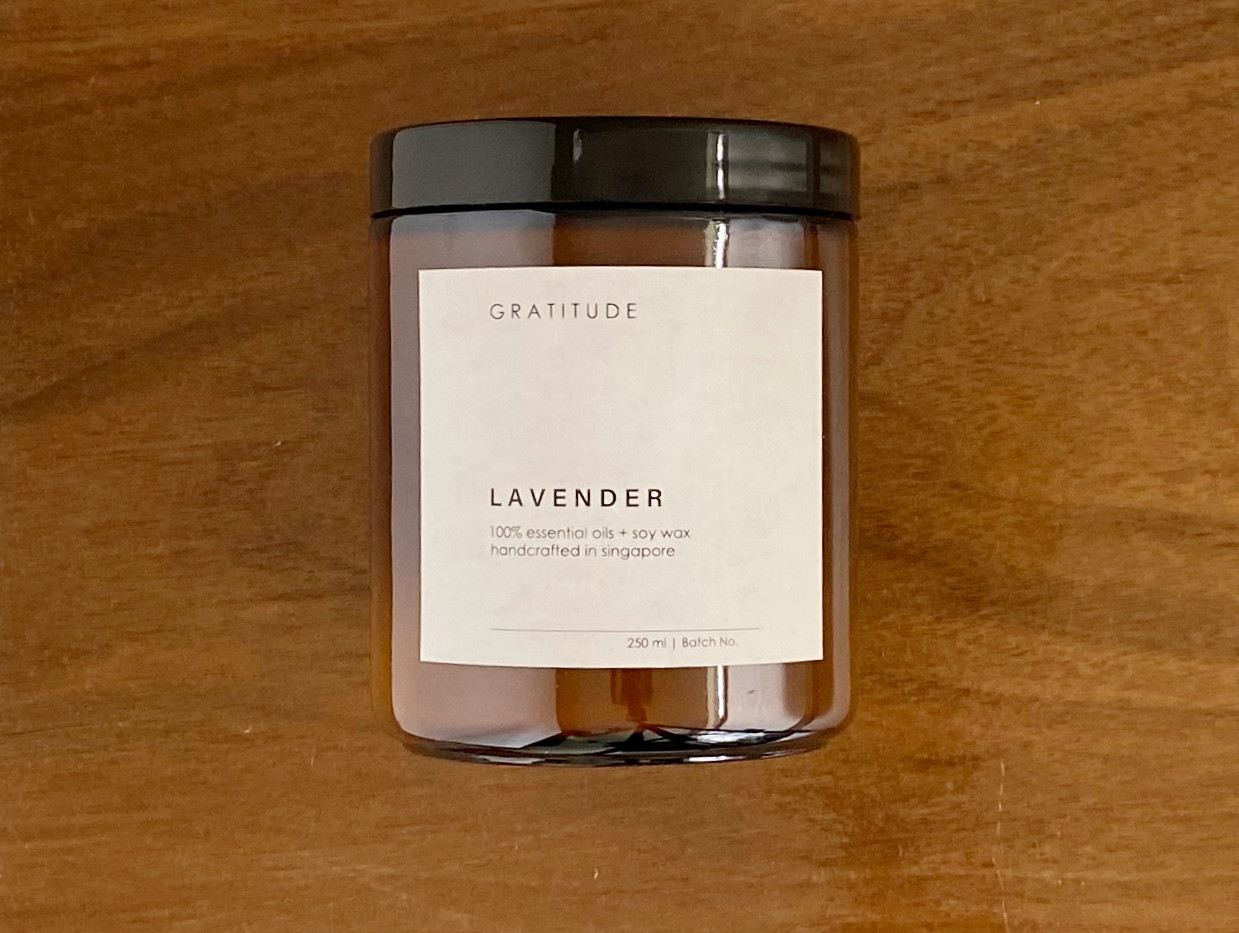 Lavender Soy Wax Candle in Amber Glass Jar