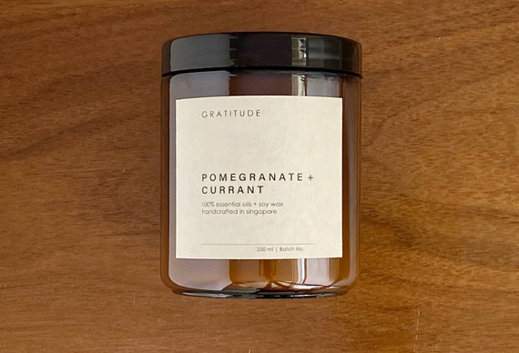 Pomegranate and Current Soy Wax Candle in Amber Glass Jar