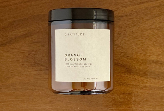 Orange Blossom Soy Wax Candle in Amber Glass Jar