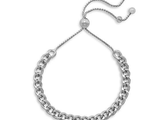 Rhodium Plated Curb Chain Bolo Bracelet