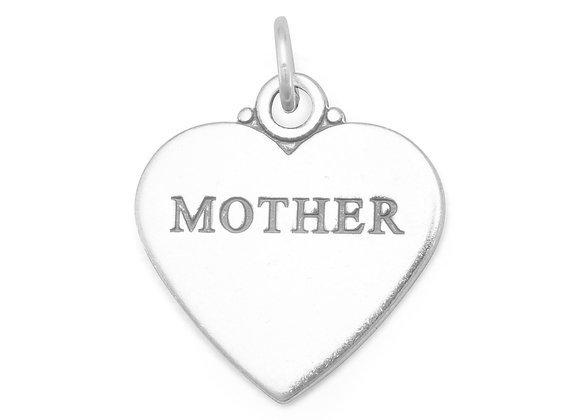 """Oxidized """"MOTHER"""" Heart Charm"""