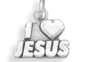 """Oxidized """"I Love Jesus"""" Charm"""