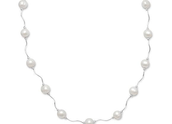"""17""""+2"""" Extension Wave Design Necklace with Cultured Freshwater Pearls"""