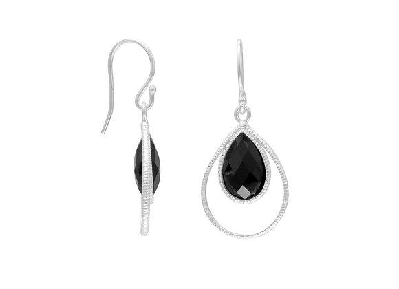 Black Onyx Textured Pear Drop Earrings